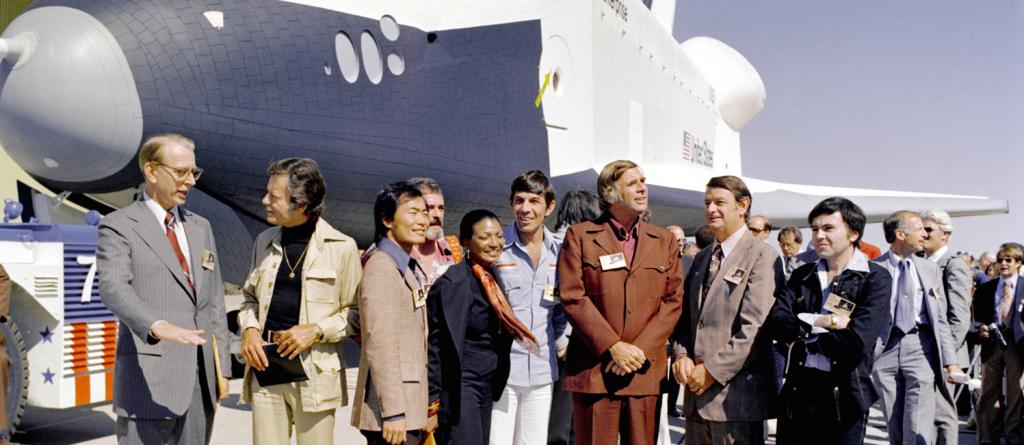 Star Trek Cast with the Space Shuttle Enterprise